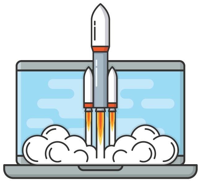 illustraton of rocket launching from laptop