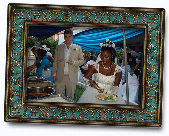 photo of our wedding in frame