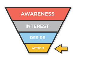 sales funnel - highlight action